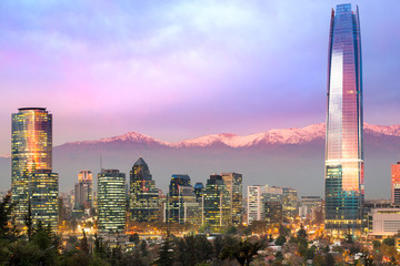 Skyline of Santiago de Chile at Las Condes and Providencia districts with The Andes mountain range in the back