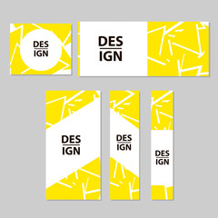 Web banners set with abstract yellow design.