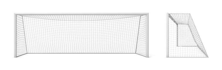 3d rendering of white empty football gates isolated on a white background.