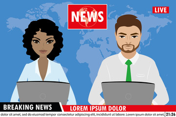 TV news anchors reporting breaking news,Man and woman news anchors,