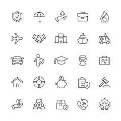 insurance accident contract line black icons set