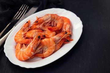 boiled shrimps on white dish
