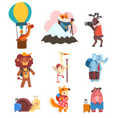 Cute animals cartoon characters traveling on vacation set, wild animals and birds with backpacks and suitcases vector Illustration on a white background
