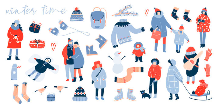 Winter activities. Various people. Cozy winter clothes and other stuff. Big colored vector set. All elements are isolated