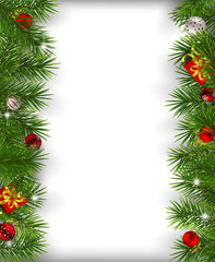 Borders made of fir branches decorated with baubles  and gifts on white background. Christmas background with space for text.