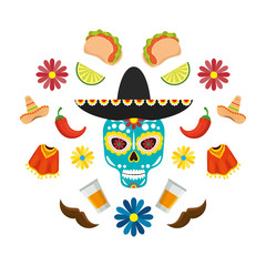mexican mariachi hat with skull and set icons