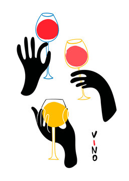 Graphic black hands with wine. Hand drawn colored vector set. All elements are isolated