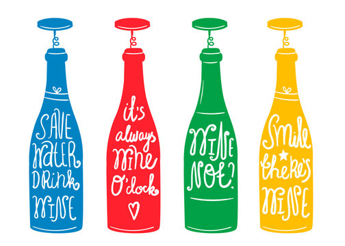 Wine puns. Vector set of four wine bottles with text. Every bottle is isolated