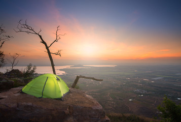 tent on the mountain in early morning.