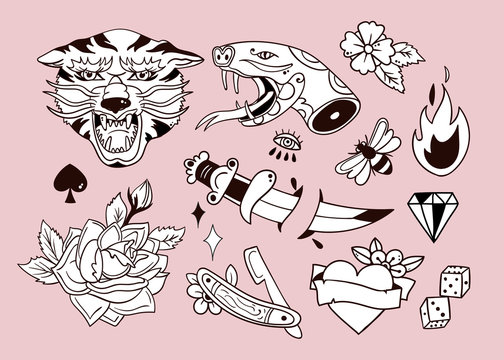 Various traditional style tattoos. Hand drawn vector set. All elements are isolated