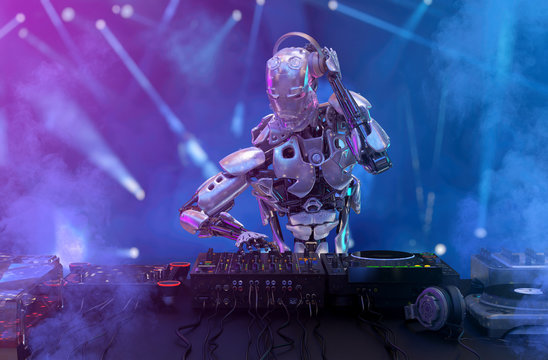 Robot disc jockey at the dj mixer and turntable plays nightclub during party. Entertainment, party concept. 3D illustration