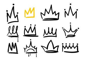 Foto op Plexiglas Graffiti Various doodle crowns. Hand drawn vector set. All elements are isolated