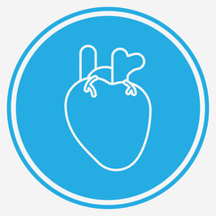 Realistic heart vector icon sign symbol
