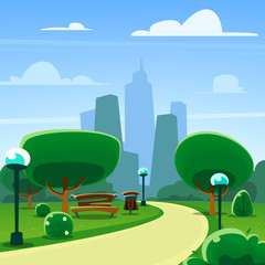 vector semi flat abstract cartoon town park scenery illustration template with city building silhouette
