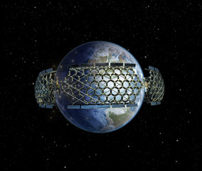 Giant honeycomb space station surrounding Earth.