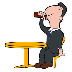 Happy cartoon character drinking beer. Vector illustration design