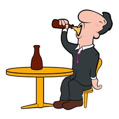 Happy cartoon character drinking beer. Vector illustration design