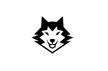 Creative Black Wolf Head Logo Symbol Vector Illustration