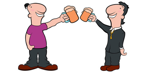 Pair of cartoon characters with beer mugs. Vector illustration design
