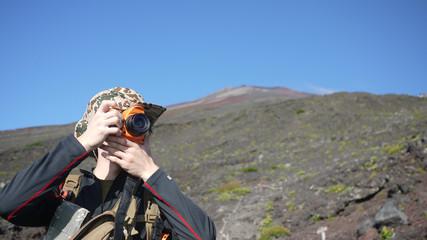 登山、写真撮影、人物