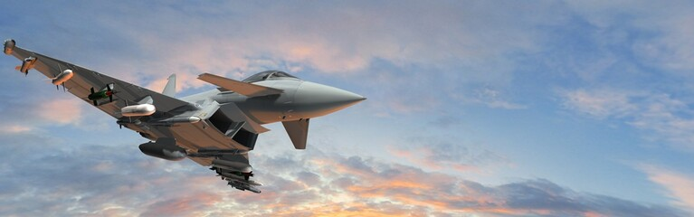 military fighter jets - modern armed military fighter jets flys in the sky Wall mural