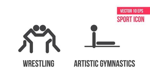 Freestyle wrestling, greco-roman wrestling und artistic gymnastics  sport icons. athlete pictogram