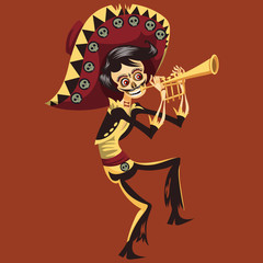 Day of the Dead man skeleton playing on trumpet poster