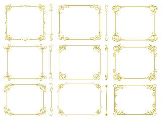 ヴィンテージ風な金の飾り罫セット