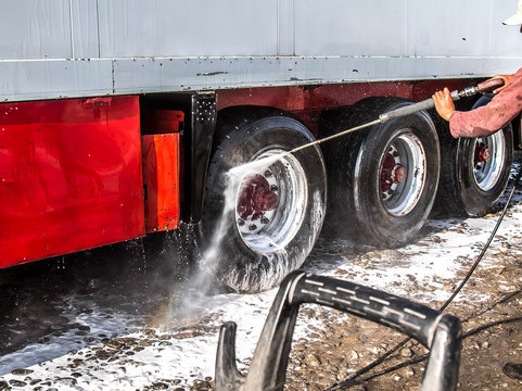 Truck washing with a hose