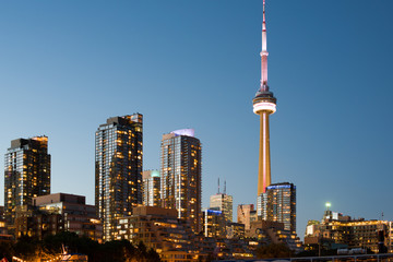 A view of Toronto downtown over the marina Quay west at sunset