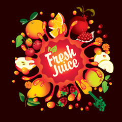 Vector banner with calligraphic inscription Fresh juice with various fruits, berries and vegetables and juice splashes on black background