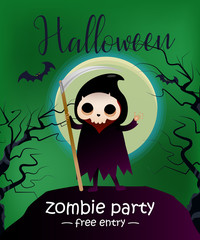 Halloween, zombie party, free entry lettering with grim reaper. Invitation design. Handwritten and typed text, calligraphy. For leaflets, brochures, invitations, flyers, posters or banners.