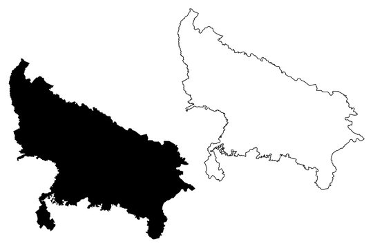 Uttar Pradesh (States and union territories of India, Federated states, Republic of India) map vector illustration, scribble sketch Uttar Pradesh (UP) state map