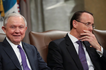 U.S. Attorney General Jeff Sessions and Deputy Attorney General Rod Rosenstein participate in a National Opioid Summit at the Justice Department in Washington