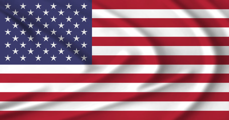 The US flag waving from the wind, proudly fluttered in the wind