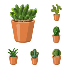 Vector illustration of cactus and pot sign. Set of cactus and cacti stock vector illustration.