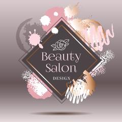 Golden pink art frames. Modern card design, brush stroke, gold, premium brochure, flyer, invitation template. Pastel rose colors brush strokes, pink gold contour square frame.