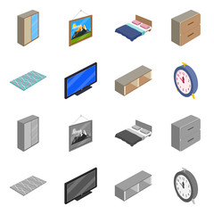 Vector illustration of bedroom and room icon. Collection of bedroom and furniture vector icon for stock.