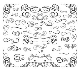 Vector Collection of Calligraphic Design Elements, Swirls Set, Black Lines Isolated.