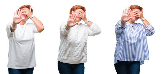 Collage of middle age senior woman over white isolated background covering eyes with hands and doing stop gesture with sad and fear expression. Embarrassed and negative concept.
