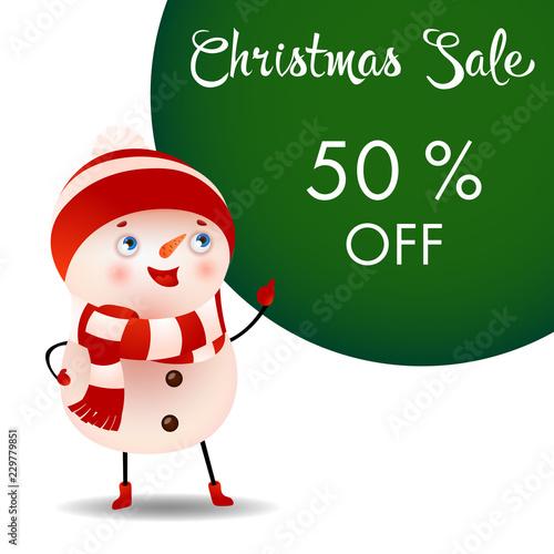 christmas sale banner design with cute cartoon snowman creative