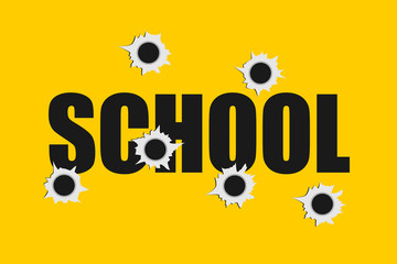 School shooting - bullet holes made by firearm. Massacre at an educational institution. Vector illustration