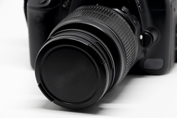 Digital DSLR Camera lens 18-55 mm on white background.