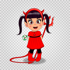 baby girl in red devil imp costume holding lollipop and trident on transparent background.