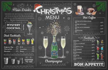 Vintage chalk drawing christmas menu design with champange. Restaurant menu