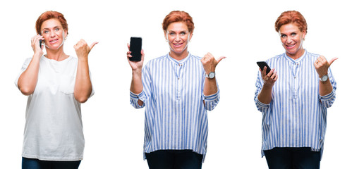 Collage of middle age senior woman using smartphone over white isolated background pointing and showing with thumb up to the side with happy face smiling