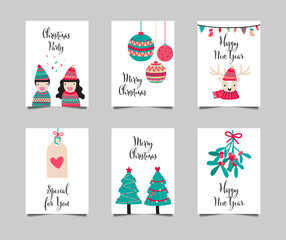 Merry Christmas and Happy new year card collection in cute cartoon character doodle drawing on white background. Vector and illustration