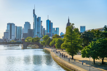 Evening sunlight and Frankfurt skyline