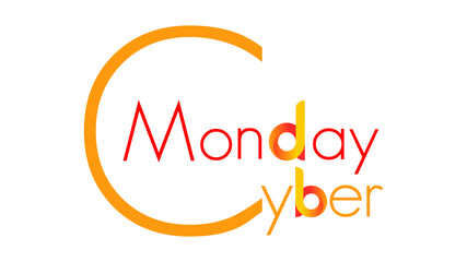 Cyber Monday - orange text with big first letter