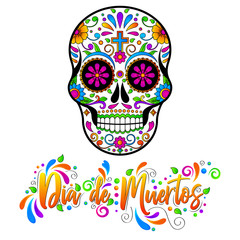 Dia de muertos, Mexican Sugar skulls, Day of the dead Halloween vector illustration on white background